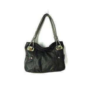 B Makowsky Black Silver handles pebble leather bag